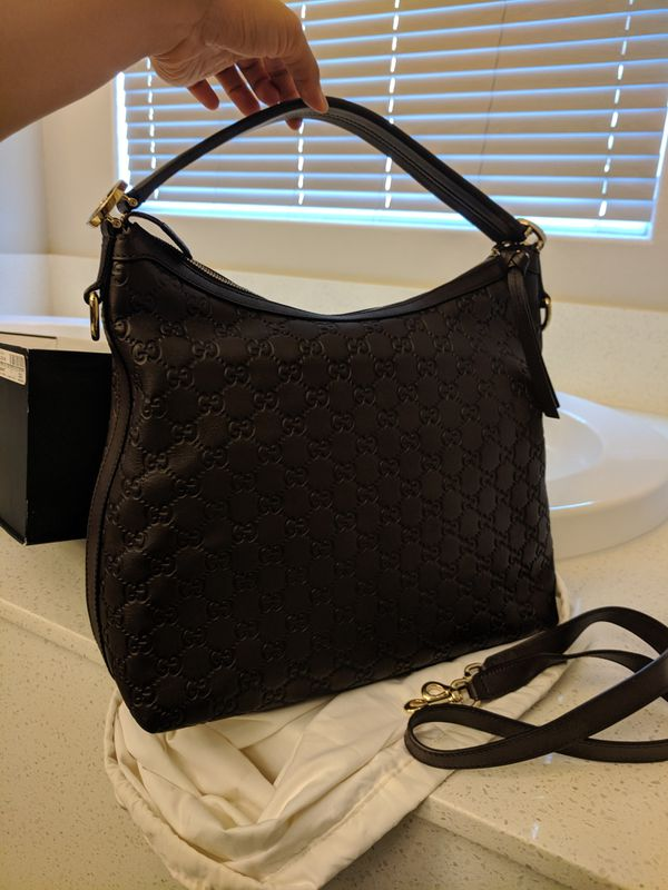 AUTHENTIC GUCCI Guccissima Brown Leather Miss GG Original Hobo Bag in EXCELLENT CONDITION