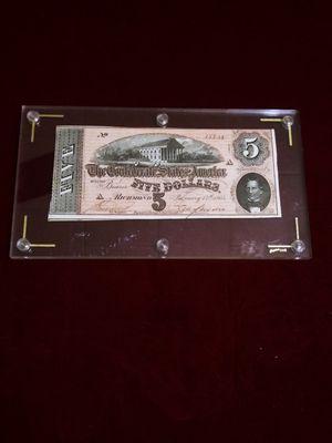 1864 U.S Five Dollars Note / Billete Antiguo de 1864 for Sale in Pasadena, TX