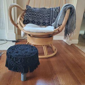 Black Boho Macrame Footstool Ottoman Pouf for Sale in Pasadena, CA