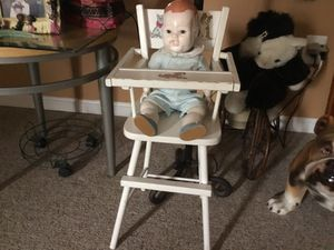A beautiful antique doll with the chair for Sale in Greenbelt, MD