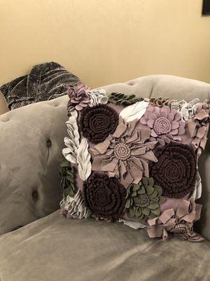 Z Gallerie Purple Floral Cotton Pillow for Sale in Arlington, VA