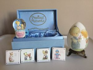 LOT of 5 Vintage PRECIOUS MOMENTS Porcelain Egg, Stand and BOX, 4 Ceramic Magnets & Glitter Globe❗️IF POSTED THEN AVAILABLE❗️ for Sale in Plainfield, IL
