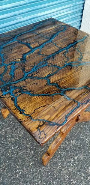 """Small epoxy resin river wood dining table. Measures approx: 35"""" long x 35"""" wide x 29.5"""" tall. for Sale in Phoenix, AZ"""