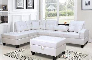 Contemporary white faux leather sectional sofa with storage ottoman 💥FINANCING AVAILABLE for Sale in North Miami Beach, FL