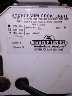 Hydro Farm Grow Light Ballast and can- fan exhaust. 1000w 120v for Sale in Columbus,  OH