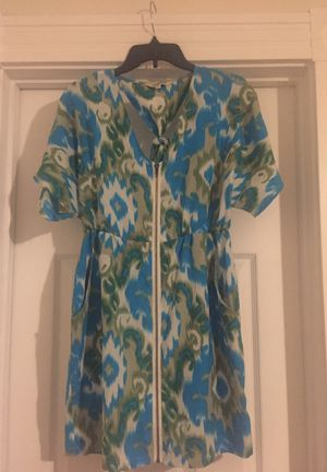 Teal, Green & Cream Zip-up, tied back Dress for Sale in Millersville, MD