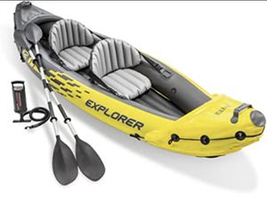 Intex Explorer K2 Kayak, 2-Person Inflatable Kayak Set with Aluminum Oars and High Output Air Pump for Sale in Gilbert, AZ