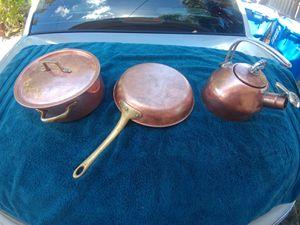 Copper frying pan, pot w/lid and tea pot for Sale in St. Petersburg, FL