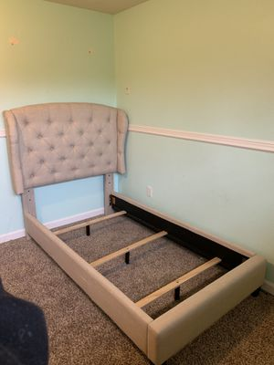 Twin upholstered bed in beige for Sale in Olympia, WA