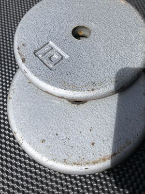 Pair of 10 lb pancake weight plates, 20 pounds total for Sale in North Miami, FL