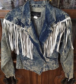 Cowgirl Fringe Denim jacket size small to medium for Sale in Visalia, CA