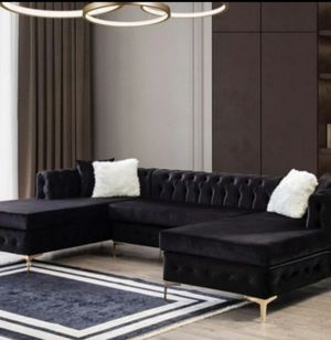 🖤 Perfeck Deal Lydia Velvet Black Double Chaise Sectional for Sale in Houston, TX