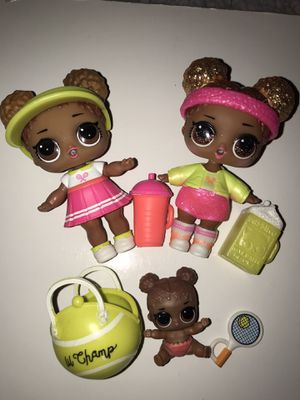 """Lol Dolls series 2 """"Court Champ """" glam glitter Court Champ and lil si for Sale in Portland, OR"""