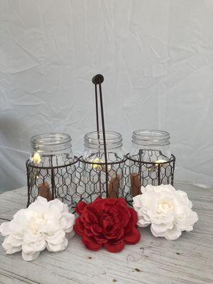 NEW Triple Mason Jar Vase Holder - Farmhouse Collection for Sale in Fullerton, CA