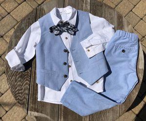 H&M4pcBoysOutfitSize~4,100%cottonLightBluePants,Vest.WhiteShirt,bow tie for Sale in McHenry, IL