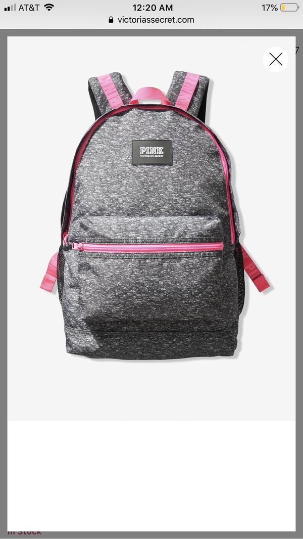 Victoria secret pink grey and pink backpack