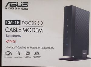 Asus CM-16 Docsis 3.0 Cablelabs-Certified 16x4 686 Mbps Cable Modem Certified by Comcast Xfinity, Spectrum and Other Service Providers for Sale in Virginia Beach, VA