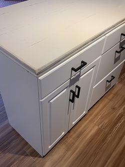 White Quartz Kitchen Island With Cabenit And Drawer Storage for Sale in Seattle,  WA