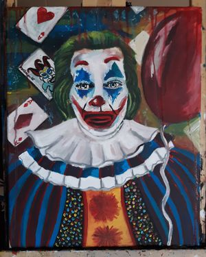 16 x 20 Horror Pennywise and Joker Mashup Painting on Canvas for Sale in Terre Haute, IN