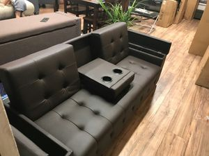 Espresso leatherette futon wth storage cup holder🎈🎈🎈🎈🎈 for Sale in Fresno, CA