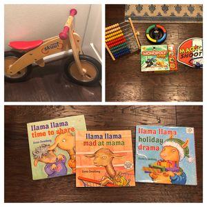 Skuut balance Bike, Kids games and Llama llama 🦙 books for Sale in Bothell, WA