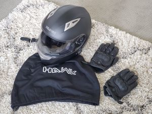 Hawk H500 Bluetooth Full Face Motorcycle Helmet - Large and Damascus ATX95 All Leather Gloves with Knuckle Armor- Large for Sale in Atlanta, GA