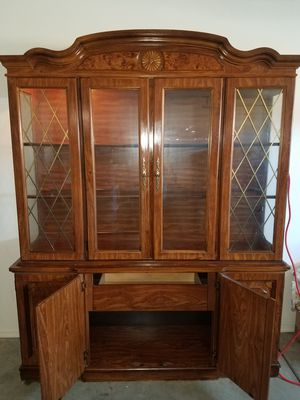 Antique china cabinet with lighting for Sale in Tucson, AZ