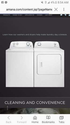 Amana washer and dryer for Sale in New Martinsville, WV