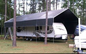 New galvanize steel canopy RV carports 12'x40' (15') tall heavy duty Frame and tarp included More size available for Sale in Tampa, FL