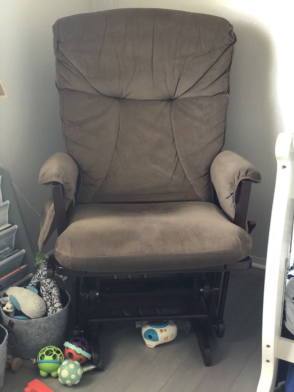 Rocking glider chair and matching rocking pedestal Brown