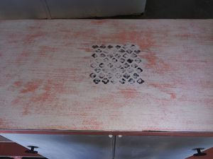 Coral & white storage cabinet w shelves for Sale in Yucaipa, CA