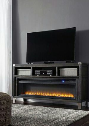 Todoe Gray LG TV Stand with Infrared Fireplace Insert | W901-68 for Sale in Houston, TX