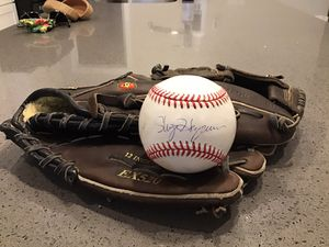 Easton leather baseball glove Black Magic edition and autographed MLB baseball for Sale in Lynnwood, WA
