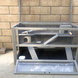 Upgraded 3 Tier Hamster Cage, Guinea Pig Habitat with Chewing Toy,Hideout,Seesaws,Food Bowl, Ferret House-Leak Proof Plastic Tray for Sale in Rancho Cucamonga, CA