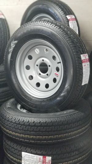 NEW 8 PLY HEAVY DUTY TRAILER TIRES AND WHEELS ST205/75R15 for Sale in Douglasville, GA