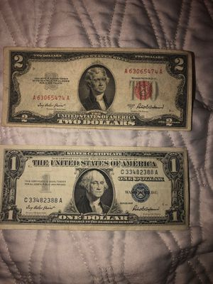 Red Seal $2 bill and silver certificate for Sale in Medfield, MA