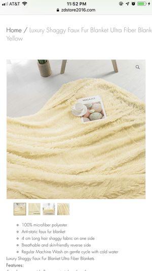 "Luxury Shaggy Faux Fur Blanket Ultra Fiber Blanket Full 70"" x 78"" Light Yellow for Sale in Houston, TX"