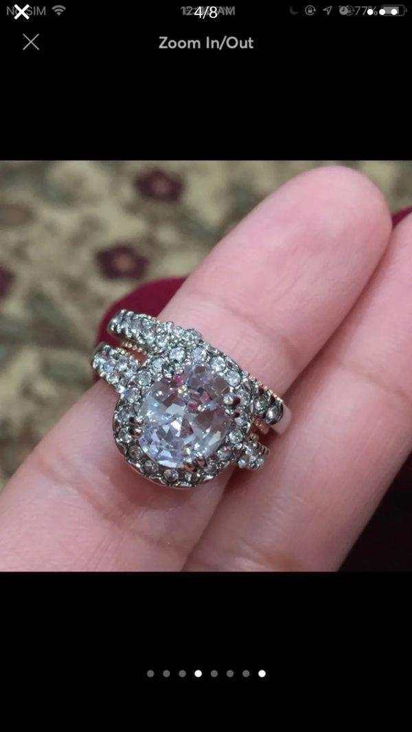 18k gold filled topaz wedding engagement ring band set size 6