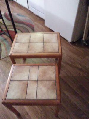 SOLID TEAK WOOD AND CERAMIC TILE NESTING TABLES for Sale in Golden, CO