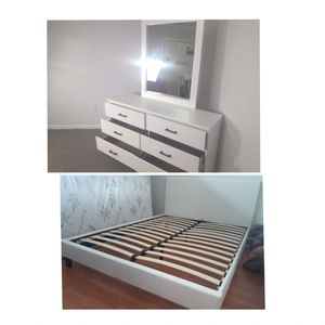 New queen bed frame and mirror dresser Mattress is not included for Sale in Hialeah, FL
