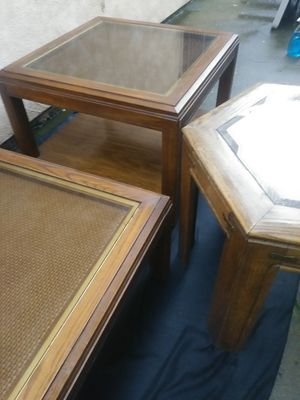 3 SOLID WOODEN TABLES WITH GLASS TOPS GREAT CONDITION OFFERED: $100 OR BEST OFFER for Sale in Modesto, CA