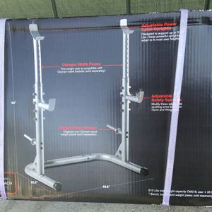 Weider XRS 20 Olympic Squat Rack with Adjustable Safety Spotter Bench Press Power Rack combo PLEASE READ DESCRIPTION for Sale in Brea, CA