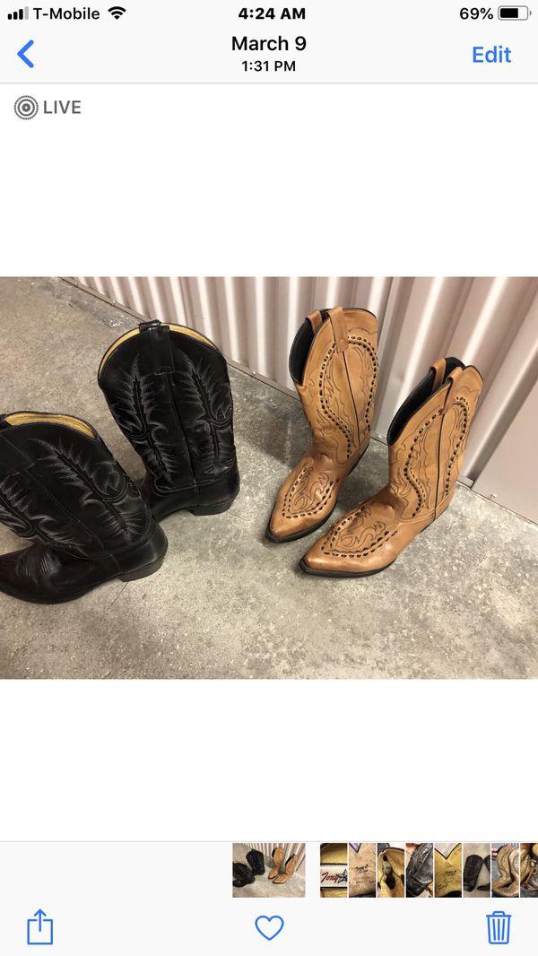 TONY LAMA LEATHER BOOTS 10 1/2 D 2 pair