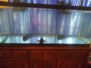Almost new 75 gallon fish tank with 30 stand and two fuel filters for Sale in Sterling Heights, MI