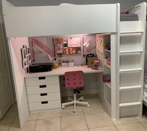 White bunk bed / desk / chair/ shelf unit w/ twin mattress for Sale in Miami, FL