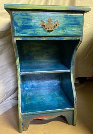 Unicorn Spit Boho Chic Oil Painted ETHAN ALLEN Solid Maple End/Side Table/STORAGE for Sale in Cambridge, MA