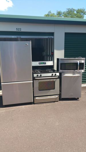 Stainless steel appliance set. 4pc for Sale in Philadelphia, PA