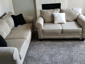 Can Deliver Cream Sofa Loveseat Living Room Set Great condition for Sale in Euless,  TX