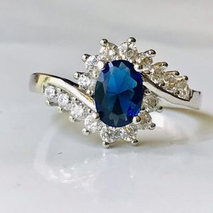 Gold plated blue lab created diamond ring women's jewelry accessory sz 6 for Sale in Silver Spring, MD