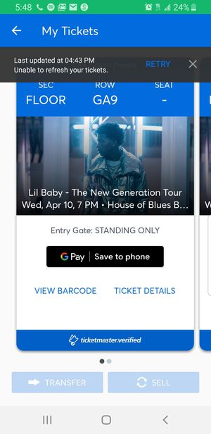 Lil baby concert tickets for Sale in Waltham, MA